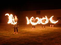 Pofotbalová taneční zábava s ohňovou show